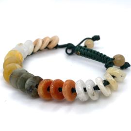 Groene touwtjes armband met jade kralen