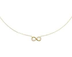 Geelgouden collier infinity zirkonia 0,8 mm 40 + 4 cm