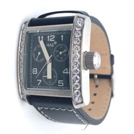 Max XL Watches polshorloge met zwarte band en kristal stenen