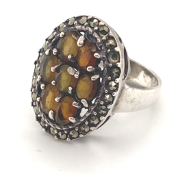 Occasion zilveren ring met markasiet en citrien
