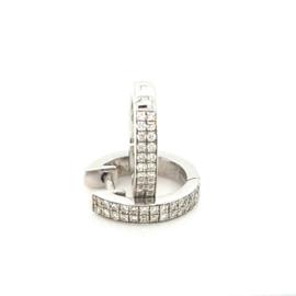 Occasion witgouden klap creolen met diamant 0.41ct