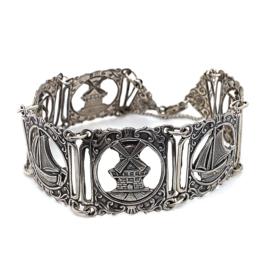 Occasion zilveren armband met Hollandse taferelen
