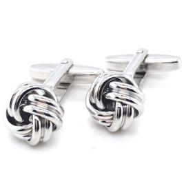Zilveren manchetknopen dubbele knoop