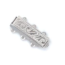 3-Snoer zilveren rechthoekige sluiting