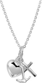 Ketting Geloof, Hoop En Liefde 1,1 mm 41 + 4 cm zilver