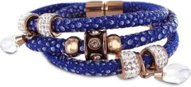 Bedelarmband - gevlochten leer en staal elementen - beads en druppel bedels - zirkonia - lengte 20 cm - donkerblauw / rosékleurig