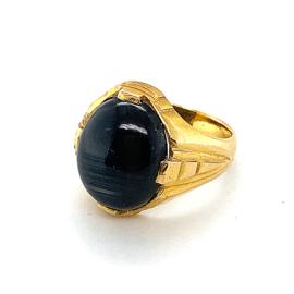 Occasion massieve 21K gouden ring met stersaffier