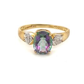 Occasion bicolor ring met mystery topaas edelsteen