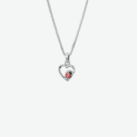 Zilveren collier hartje lieveheersbeestje 1,4 mm 36 + 4 cm