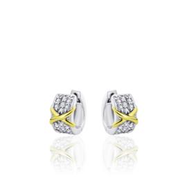 AG925 Zilveren oorbellen met gouden accent en zirkonia