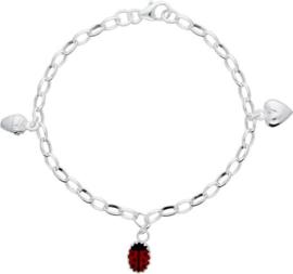 Lilly bedelarmband - ziver - emaille - jasseronschakel - hart, eikel en lieveheersbeestje - rood - 15 + 2 cm