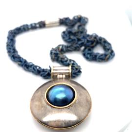 Occasion handgemaakt zilver en gouden collier