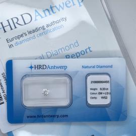 HRD Diamant - 0.33 ct. - briljant - EW+ (D) / VVS2