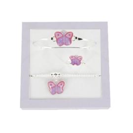 Zilveren lila butterfly set