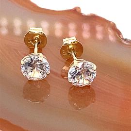 Occasion solitair gouden oorknoppen zirkonia 6mm
