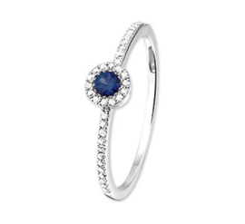 Ring saffier en diamant 0.11 ct.