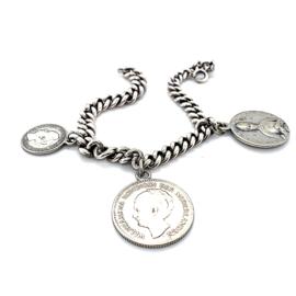 Occasion gourmet armband met 3 munt bedels
