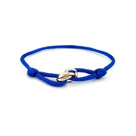 Armband satijn midden blauw 3 rondjes