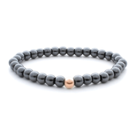 sparkling jewels 6mm Additional Bracelet Hematite - Rose gold Bead
