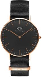 Daniel Wellington Classic Black Cornwall DW00100150 - Horloge - Nylon - Zwart - Ø 36 mm