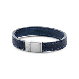 Blue stitched leather bracelet with stainless steel closure