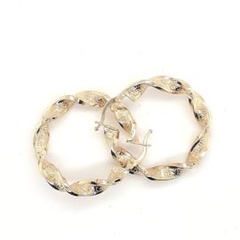 Gouden wokkel  oorbellen 3cm