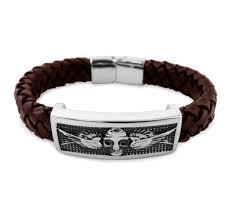 Frank 1967 - 7FB-0026 - Leren armband - met stalen elementen - 21 cm - Bruin - Doodshoofd