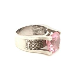 Occasion ring met roze en witte zirkonia's