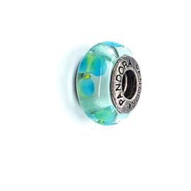 Occasion Pandora glas bedel lichtblauw / groen