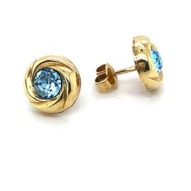 Occasion gouden oorknoppen met blauwe zirkonia's