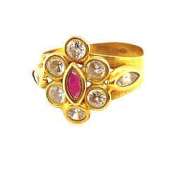 Occasion gouden ring met robijn en zirkonia's