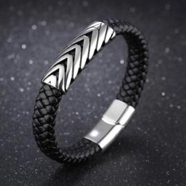 Lederen armband met stalen accenten