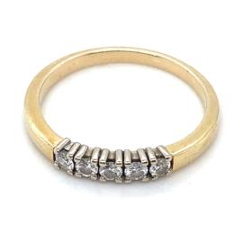 Occasion bicolor gouden Rensini rij ring met diamant