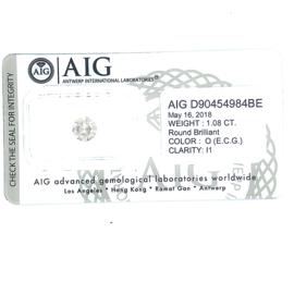 AIG diamant - 1.08 ct - rond briljant - O / I1
