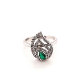 Occasion zilveren ring met witte en groene zirkonia's