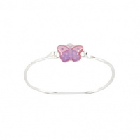 Zilveren Bangle lila butterfly