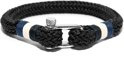Frank 1967 7FB-0143 - Gevlochten rope heren armband - met stalen sluiting - one-size - zwart