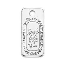 Mi Moneda Love Life Tag Square 925 Silver