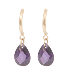 Cataleya Earrings Half Hoop & Pear Purple