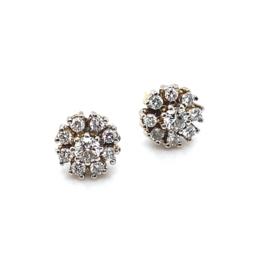 Occasion witgouden diamanten rozet oorbellen met diamant 0.78ct