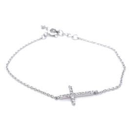Occasion fijn armbandje met kruis bezet met zirkonia's