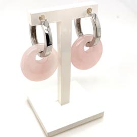 Occasion  C'est Moi Jewels creolen witgoud met rozenkwarts hangers
