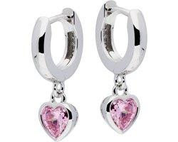 Lilly oorringen met klapsluiting - hart - zilver - gerodineerd - zirkonia - roze - 2.5x12mm