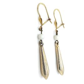 Occasion bicolor gouden oorhangers met kegels