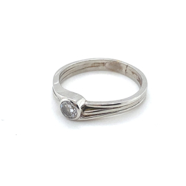 Occasion fantasie ring met één diamant 0.40ct