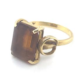 Occasion gouden ring met goudbruine citrien