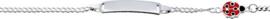 Lilly plaatarmband - zilver - emaille - gourmetschakel - rood en zwart - lieveheersbeestje - rechthoekig plaatje - 13 + 2 cm