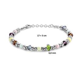 Armband 6,0 mm 17 + 3 cm kleurstenen