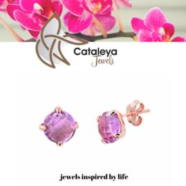 Cataleya jewels Rose gouden amethyst oorbellen