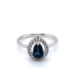Occasion zilveren ring met witte en blauwe zirkonia's